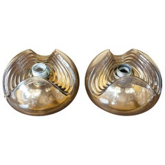 1970s 'Wave' Small Smoked Flush Mount Wall Lights Sconces by Peill & Putzler