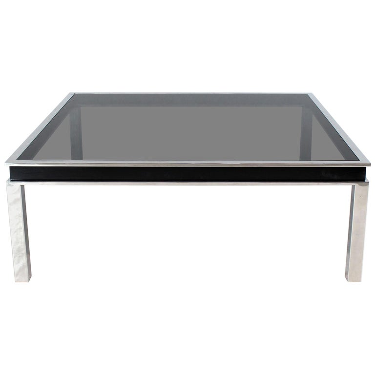 Extra Large Polished Chrome Square Mid Century Modern Coffee Table Smoked Glass