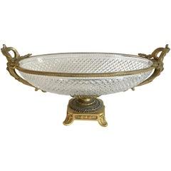 Wonderful French Gilt Bronze Cut Crystal Ormolu Centerpiece Pedestal Oval Bowl