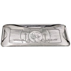 William Hutton Art Nouveau Sterling Silver Tray London, 1901