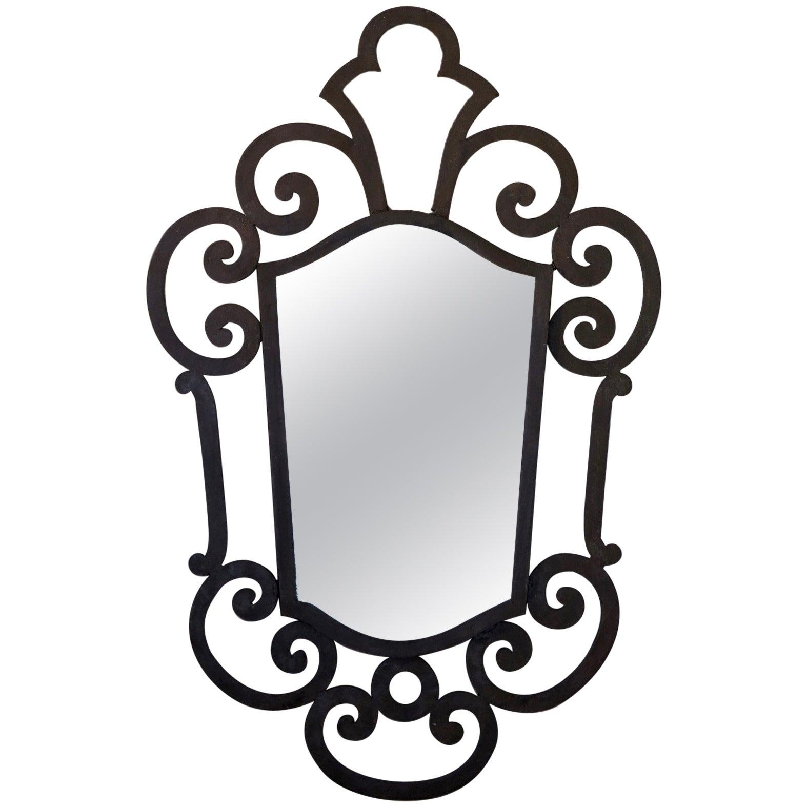 French 1940s Wrought Iron Art Deco Mirror