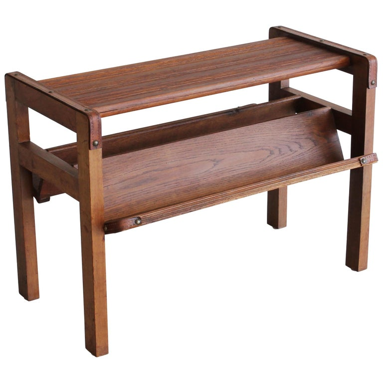Wood and Leather Side Table by Jacques Adnet