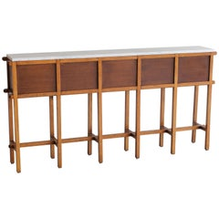 French Oak and Carrara Marble Console