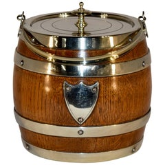 English Oak Strapped Biscuit Barrel