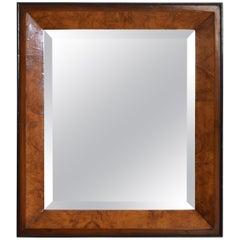 Italian Neoclassical Beveled Walnut and Ebonized Wall Mirror, 19th Century