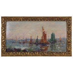 Oil on Panel, French Impressionist School, Regatta with Sailboats, 20th Century