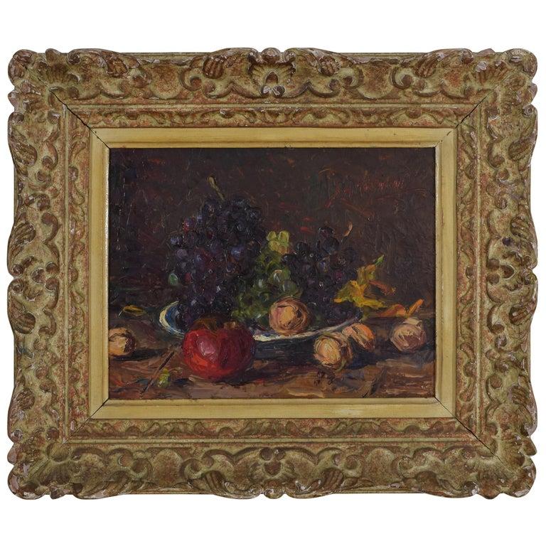 Signed Italian Oil on Artist Panel, Fruit Still Life, Carved Frame, circa 1950