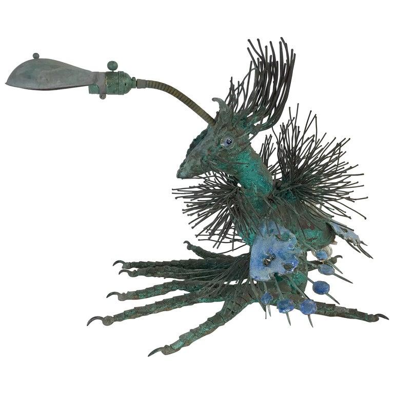 Midcentury Brutalist Bronze Beast Desk Lamp