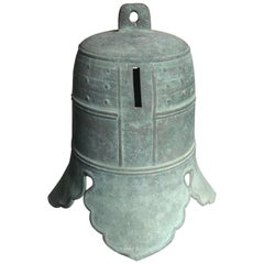 """Japanese Hand Cast Big Bronze Temple Bell with """"Clouds"""", 19th Century"""