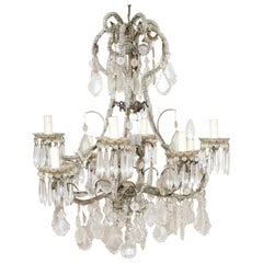 19th Century Italian Louis XVI Style Bronze and Crystals Swarovski Chandelier