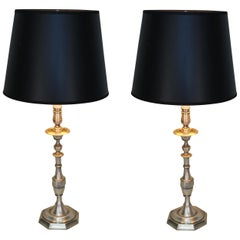 Pair of Spanish Silver on Bronze Table Lamps