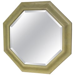 1970s Faux Parchment Lacquered Resin Octagon Mirror