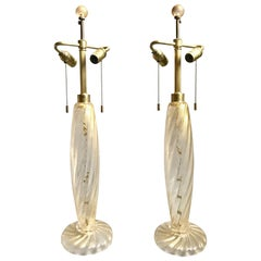 Chic Pair of 1980s Donghia Murano Glass Table Lamps