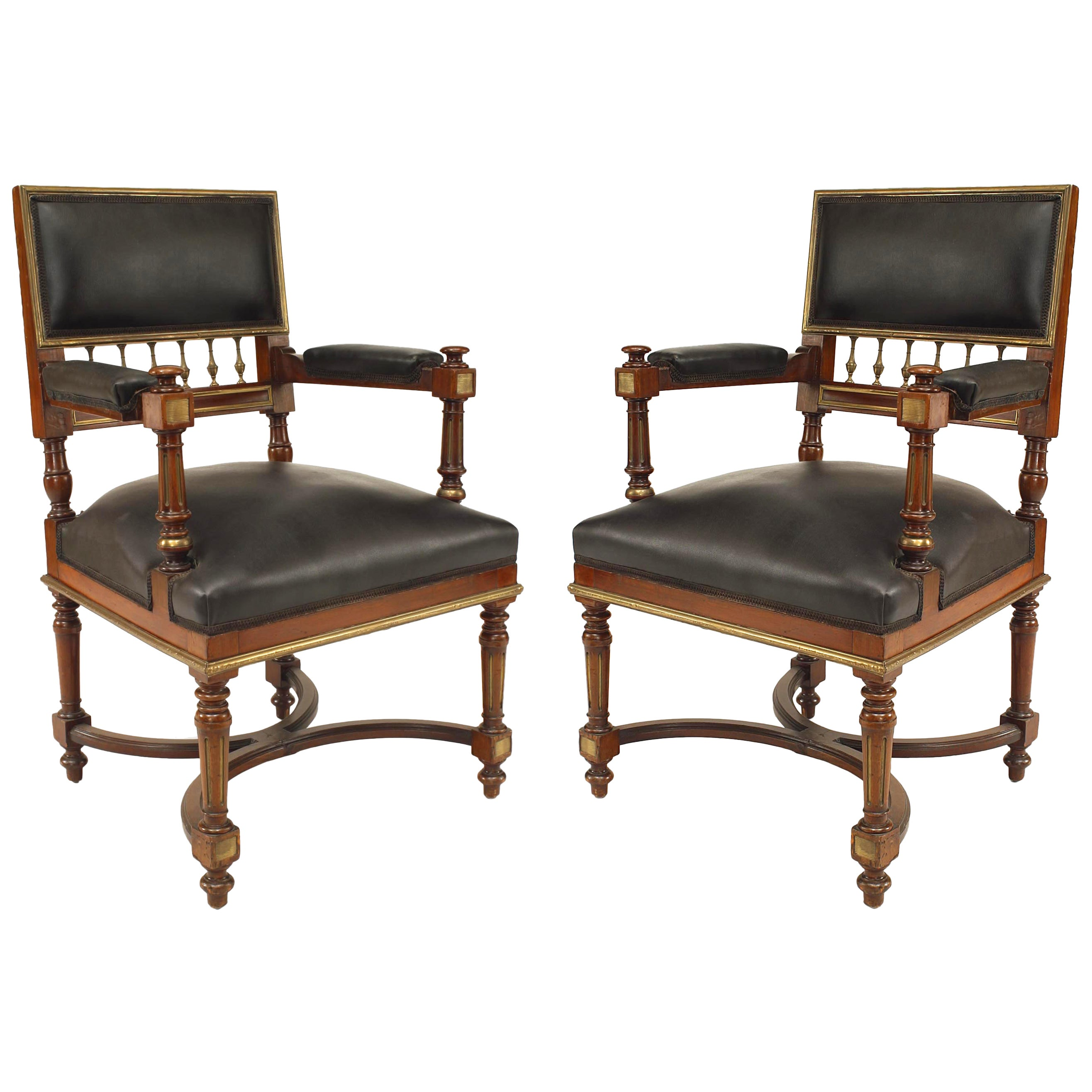 French Louis XVI Style '19th Century' Mahogany Armchairs