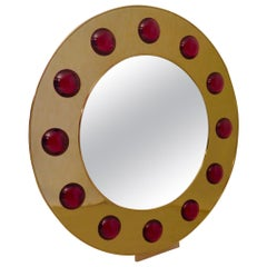 1980 Murano Brass and Glass Midcentury Wall Mirror