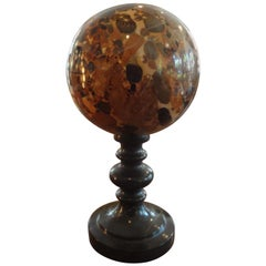Italian Grand Tour Sculpture, Jasper Sphere on Marble Base
