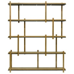 Hardwood and Steel Bookshelf. Brazilian Contemporary Design by O Formigueiro
