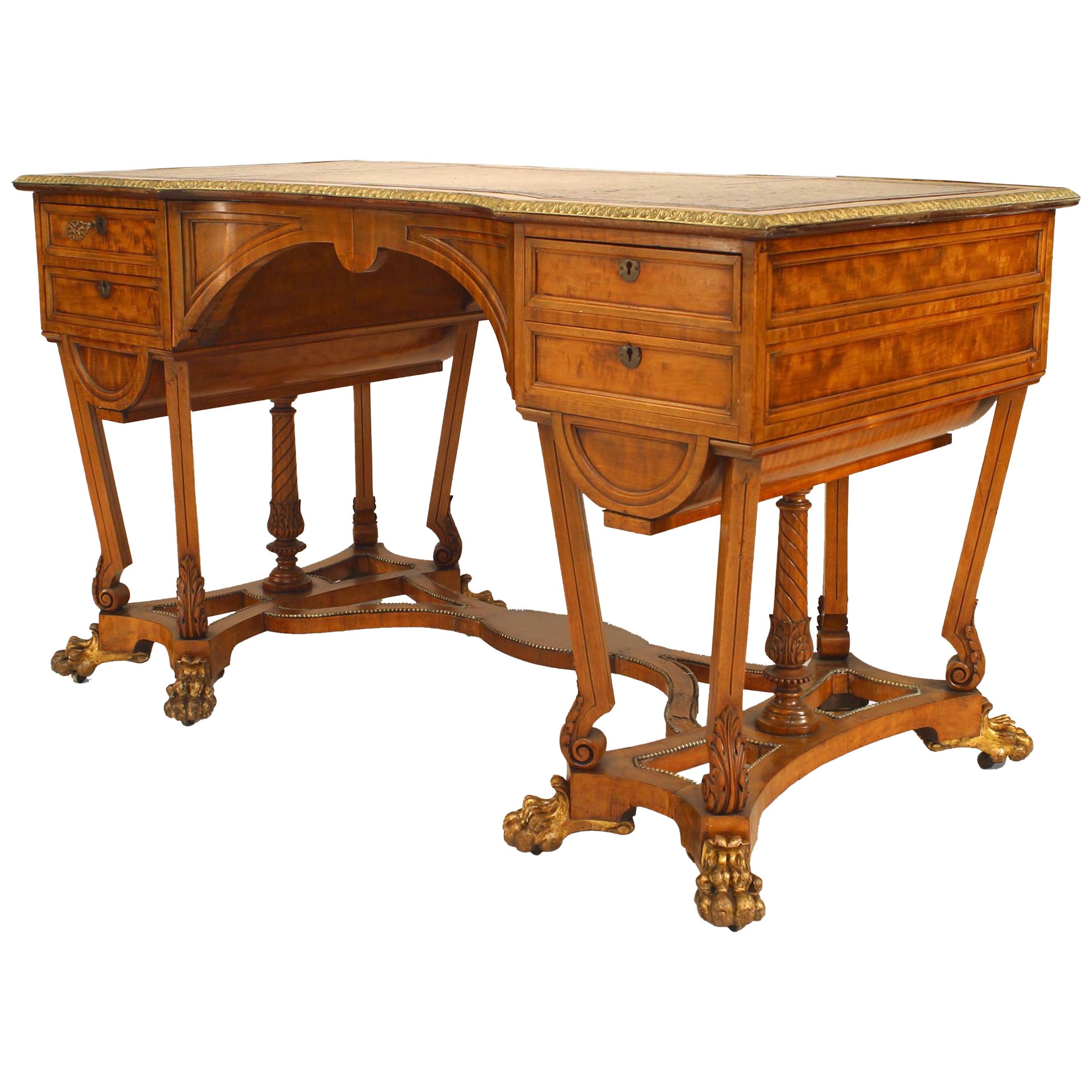 English Regency Style Gilt Metal Mounted Satinwood Desk