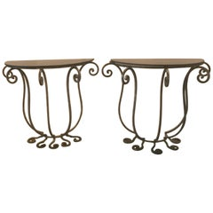 Pair of Wrought Iron Demilune Tables