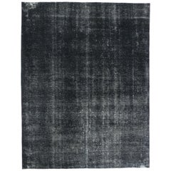 Charcoal Overdyed Distressed Vintage Turkish Rug with Industrial Luxe Style