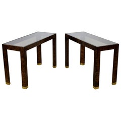Contemporary Modern Pair of Vintage Henredon Console Tables Faux Tortoise Shell