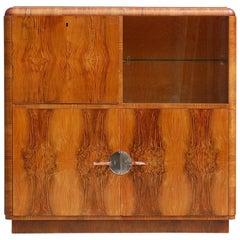 Versatile Art Deco Cabinet in Walnut Veneer, 1930s Belgium