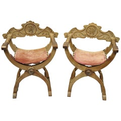 Antique Spanish Renaissance Curule Savonarola Throne Chairs Armchairs, a Pair