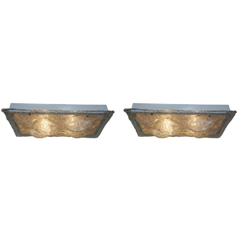 Pair of Murano Glass Flush Mount Light Fixture