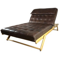 Mies van der Rohe Style Double Wide Leather Lounge Chair and Daybed