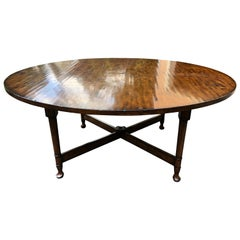 Large Handsome English Country Style Poplar Round Dining Table