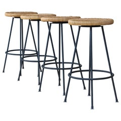 Seng of Chicago Iron and Rattan Barstools, 1950s