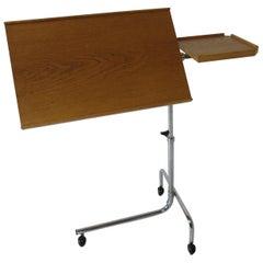 Danish Adjustable Rolling Work / Reading Side Table