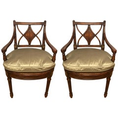 Pair of Theodore Alexander Armchairs Cane Seat