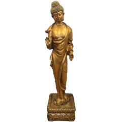 Tall Gold Gilt Polychrome Wood Standing Statue of Buddha