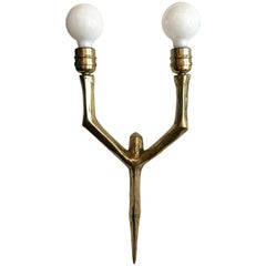 21st Century French Two-Pronged Brass Sconce