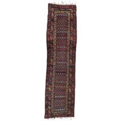 Antique Persian Kurdish Malayer Runner, Antique Rugs Persia Old Corridor Carpets