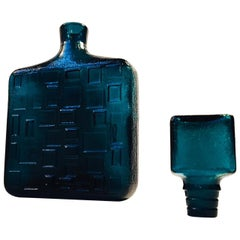 Italian Modernist Teal Blue Geometric Decanter by Empoli