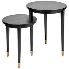 Addison Table or Round Tiered Side End Table/Black Wood Finish with Brass Feet