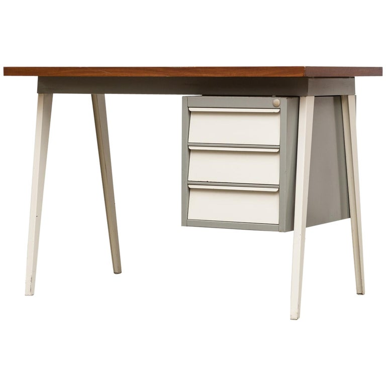 Friso Kramer Style 1950s Metal Desk with Prouve Legs For Sale