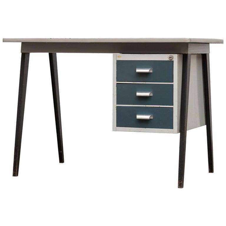 Friso Kramer Style 1950s Metal Desk with Prouve Legs