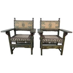 18th Century Spanish Colonial Painted Armchairs with Metallic Embroidery