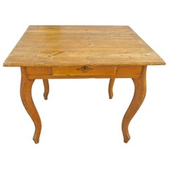 French Small Stained Pinewood Table with One Centre Drawer and Cabriole Legs