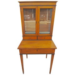 Biedermeier Birchwood Desk with Three Drawers and Two Glass Cabinet Doors above