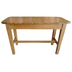 French XIX Small Pinewood Country Breakfast Table with Centre Stretcher
