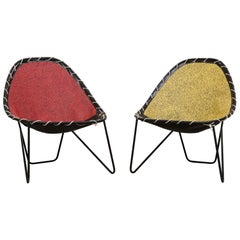 French Attributed Pair of Retro Hoop Chairs with Wire Frame