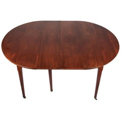 Louis XVI Acajou Mahogany Dining Table with Two Leaves