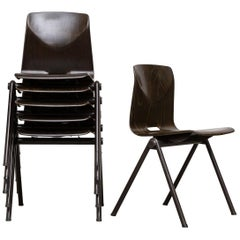Frits Hansen Style Stackable Single Shell Industrial Chairs