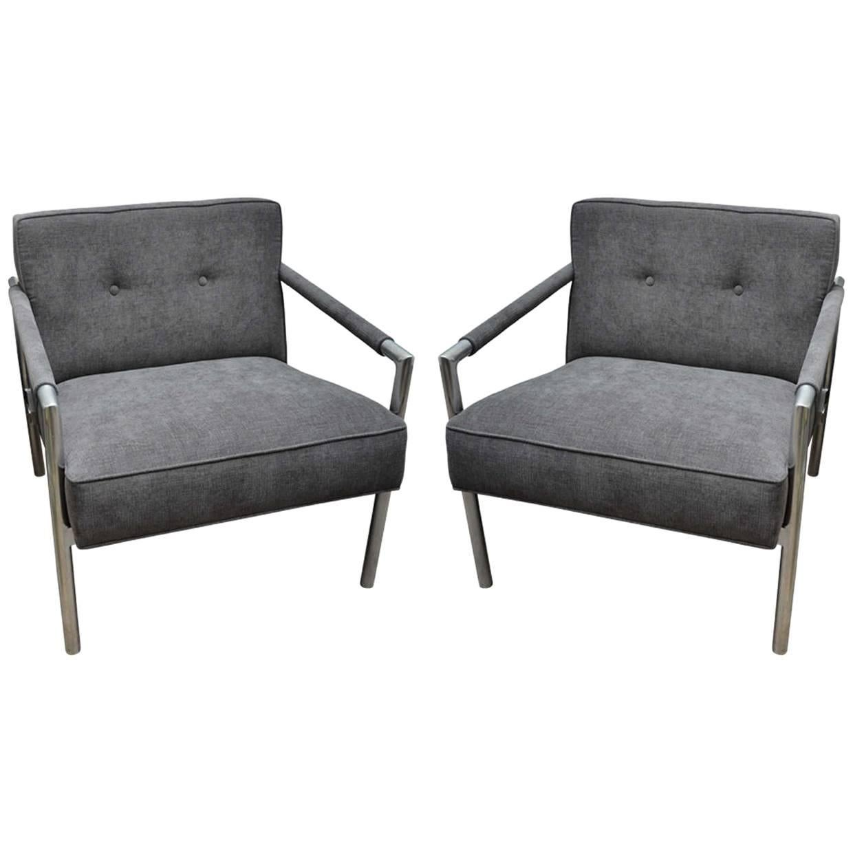 Pair of Aluminum Frame Upholstered Chairs in the Style of Harvey Probber