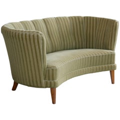 Danish Midcentury Curved or Banana Form Sofa or Loveseat in Beech and Mohair