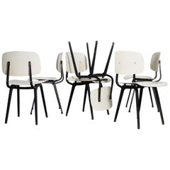 Rare Set of Six Early Edition Friso Kramer Bone White Revolt Chairs